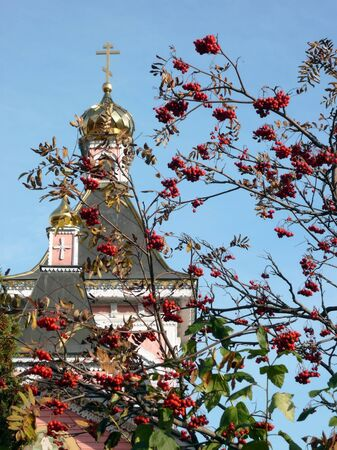 old wood temple bogorodskiy and asberry at sunny day Stock Photo - 13074771