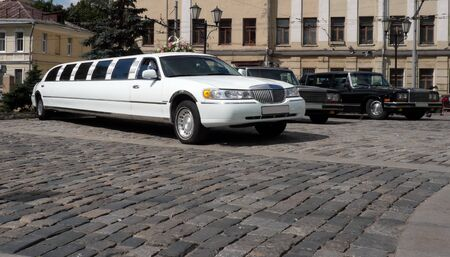 white wedding limousine at dry sunny day photo