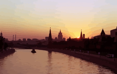 bridge over water: sunset above kremlin vector illustration Illustration