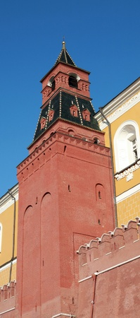 Kremlin wall on sky background in city center photo