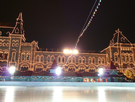 skating-rink on red square in moscow at winter night photo