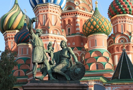 blessed basil cathedral and Statue of Minin and Pozharsky in Moscow photo