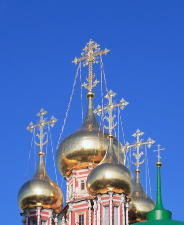 cupola of church with crosses on sky background Stock Photo - 13811150