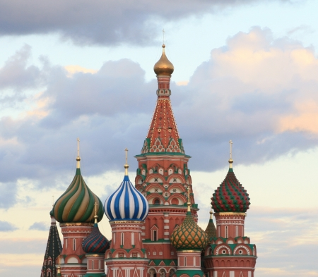 blessed Basil cathedral at evening photo