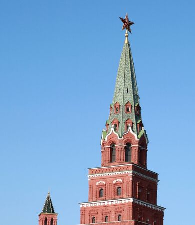 Kremlin tower on sky background in city center photo