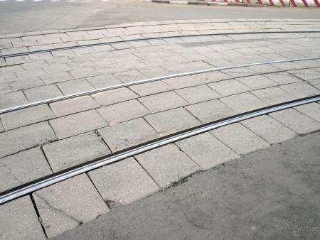 street railway at dry day photo