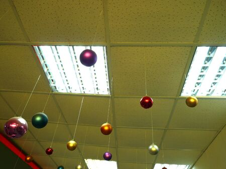 suspended:  new year balls under ceiling Stock Photo