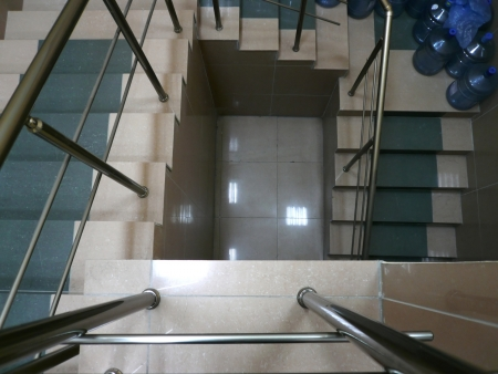 staircase with many water bottle photo