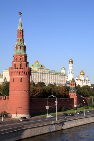 Kremlin tower,  quay and river photo