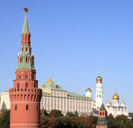 Kremlin tower,  quay and river Stock Photo - 14613993