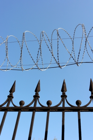 barbwire on sky background Stock Photo - 14931576