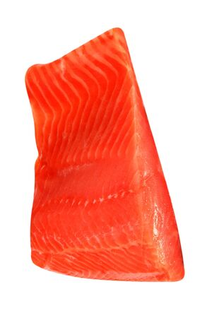 piece of red fish fillet isolated on white photo