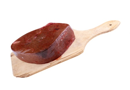 Piece Meat on Wood Board Isolated photo