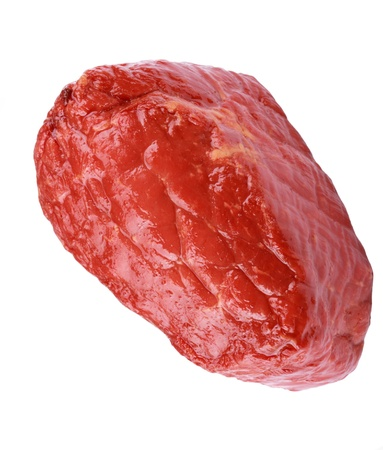 compacted: Piece of Boiled and Smoked Meat Isolated Stock Photo