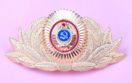 Gold Cockade on Pink Background photo