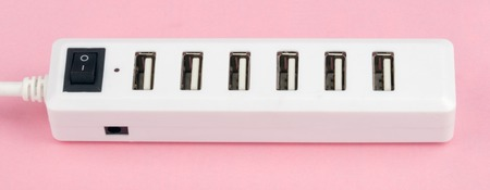 Usb Hub on Pink Background photo