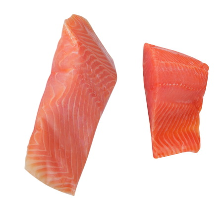 salmo trutta: Two Piece of Red Fish Fillet Isolated on White