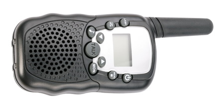 Walkie Talkie in Black Plastic Case Isolated photo