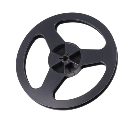 bobbin: Plastic Black Tape Recorder Bobbin Isolated