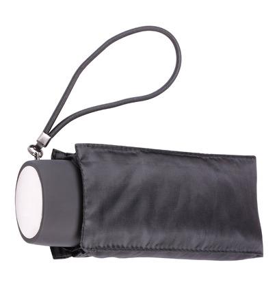 mini umbrella: Black Closed Umbrella Isolated Stock Photo