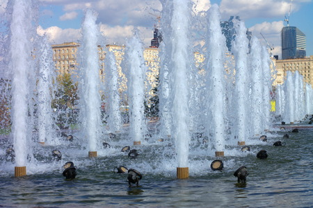 fountain on street photo
