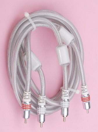 interconnect: Interconnect Cable on Pink Background Stock Photo