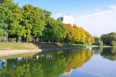 Lake in autumn park photo