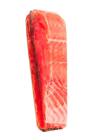 gastronome: piece of red fish fillet isolated on white Stock Photo