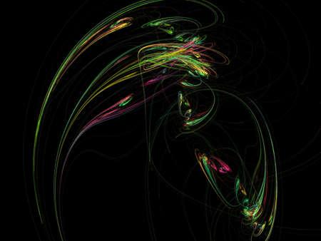 elegant wave: Digital Fractal on Black