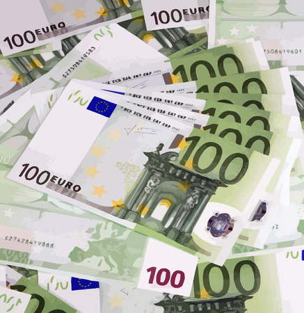 hundreds: euros banknote of hundreds Illustration