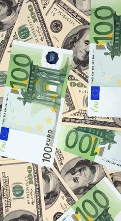 europe closeup: american dollars hundreds banknote Illustration