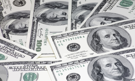 us paper currency: american dollars hundreds banknote Illustration