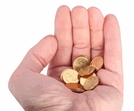 hand with copper coins