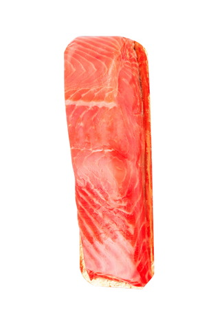 salmo: piece of red fish fillet isolated on white Stock Photo