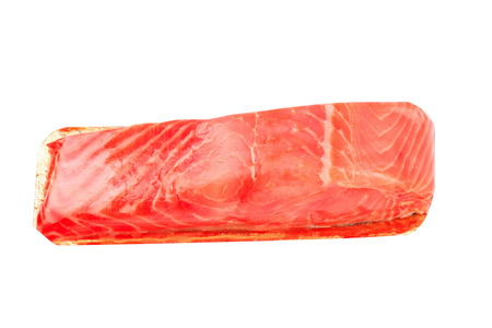 salmo trutta: piece of red fish fillet isolated on white Stock Photo