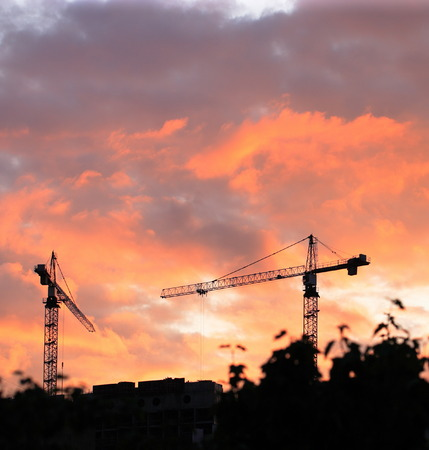 crane tower: Crane Tower on Sunset Sky Background