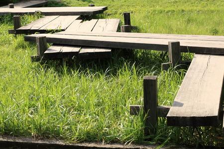 carex: wood bridge in japan garden at day Stock Photo