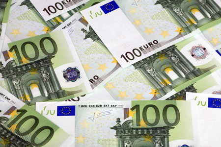 hundreds: euros banknote of hundreds Stock Photo
