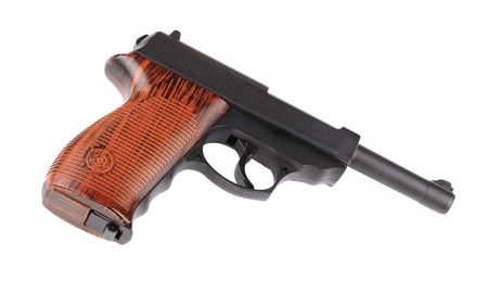 airgun: pneumatic gun isolated on white