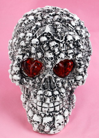 head toy: skull head toy on pink background