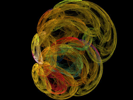 multi colors: image of one Digital Fractal on Black Color