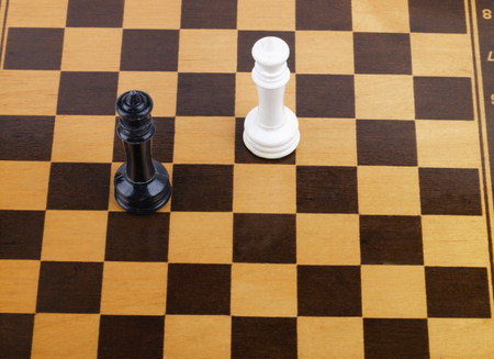 chess board: wooden checkerboard with figures