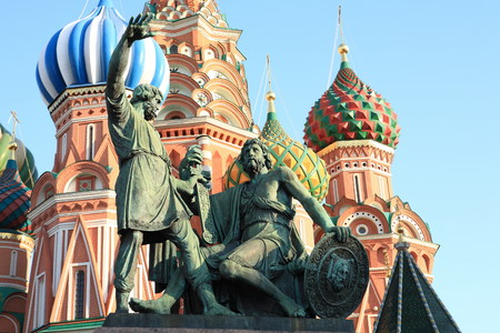 minin: blessed basil cathedral and Statue of Minin and Pozharsky