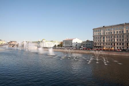 many fountain on river Stock Photo