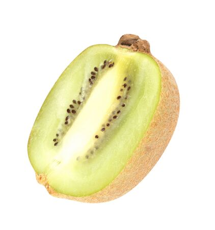 actinidia deliciosa: raw kiwi  isolated on white Stock Photo
