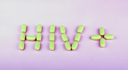 hiv therapy efavirenz on pink background Stock Photo