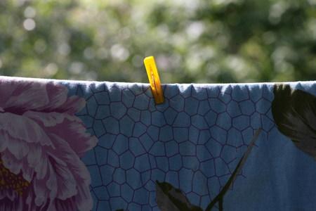 bedsheet: one clothespin on blue bedsheet