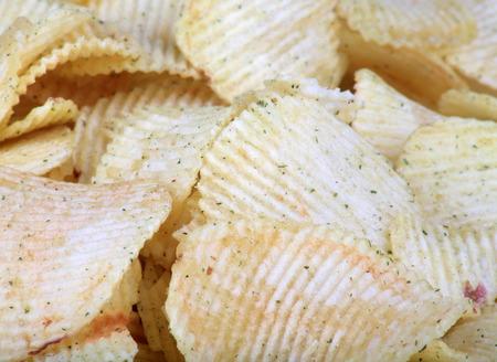 many of potato chips horizontal  texture Stock Photo