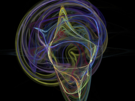 abstract waves: image of one Digital Fractal on Black Color