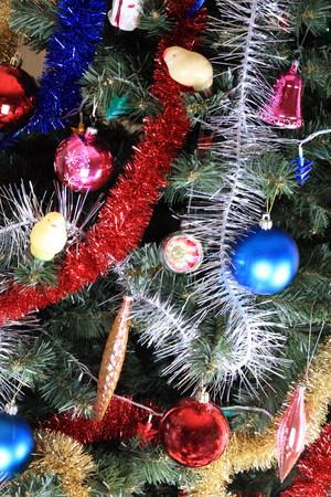 toys on green christmas fir Stock Photo